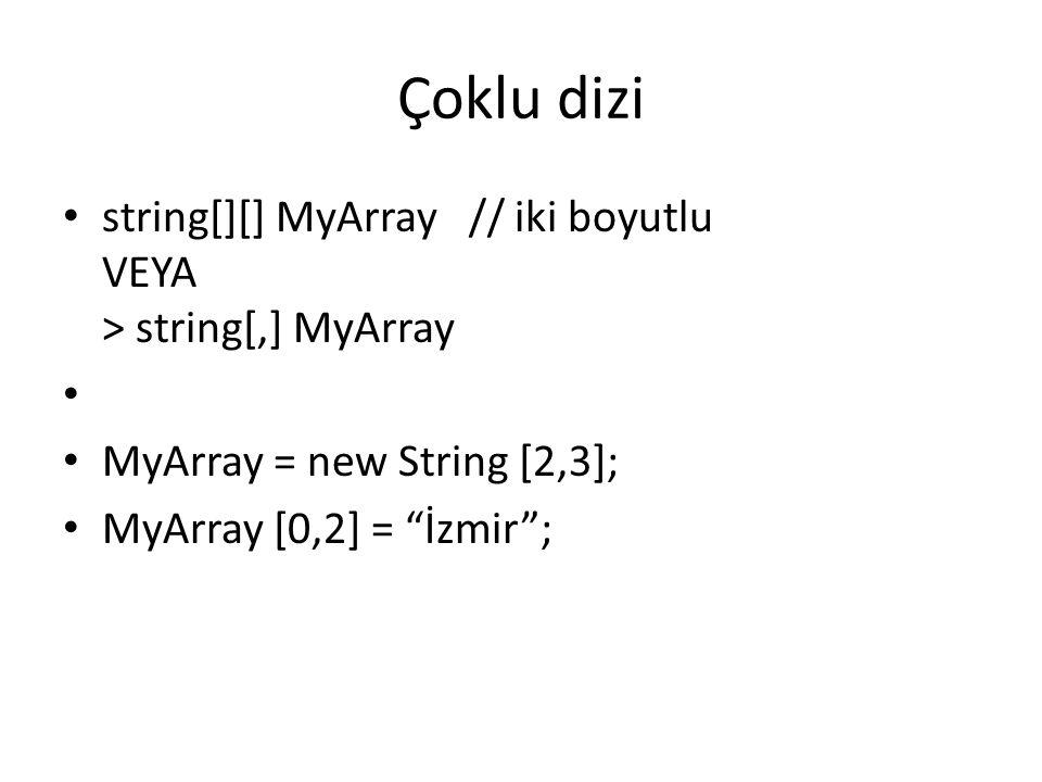 Çoklu dizi string[][] MyArray // iki boyutlu VEYA > string[,] MyArray. MyArray = new String [2,3];